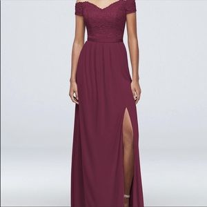 Off the shoulder David's Bridal Bridesmaids Dress
